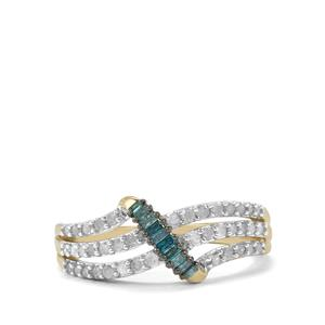 1/2ct Blue & White Diamond 10K Gold Ring