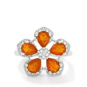 AA Orange American Fire Opal & White Topaz Sterling Silver Ring ATGW 2.51cts