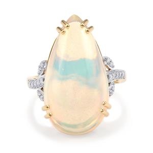 Ethiopian Opal Ring with Diamond in 18K Gold 10.15cts