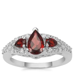 Rajasthan Garnet Ring with White Zircon in Sterling Silver 1.48cts
