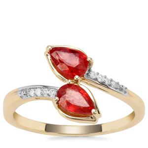 Songea Ruby Ring with Diamond in 9K Gold 0.93cts