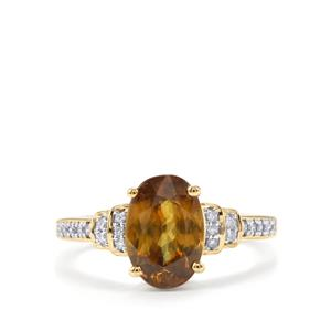 Ambilobe Sphene Ring with Diamond in 18K Gold 2.90cts