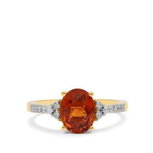 Mandarin Garnet Ring with Diamond in 18K Gold 2.30cts