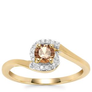 Natural Tanzanian Champagne Garnet  Ring with White Zircon in 9K Gold 0.47ct