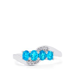 Neon Apatite & White Zircon Sterling Silver Ring ATGW 0.80cts