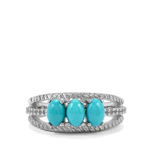 Sleeping Beauty Turquoise & White Topaz Sterling Silver Ring ATGW 1.41cts