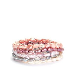 Kaori Cultured Pearl Set of 5 Stretchable Bracelets (7x6mm)