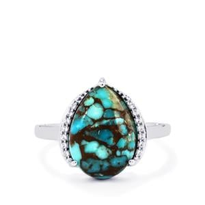 Egyptian Turquoise Ring with White Topaz in Sterling Silver 5.91cts