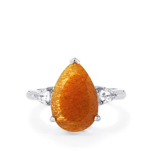 Shinyanga Sunstone Ring with White Topaz in Sterling Silver 5.52cts