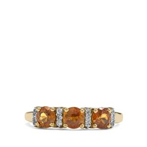 Morafeno Sphene & White Zircon 9K Gold Ring ATGW 1.43cts