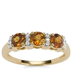 Morafeno Sphene Ring with White Zircon in 9K Gold 1.43cts