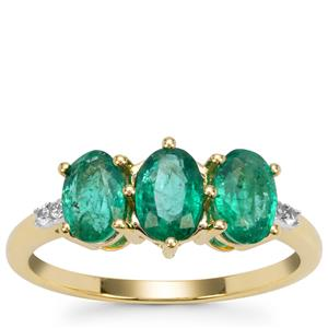 Zambian Emerald Ring with White Zircon in 9K Gold 1.40cts