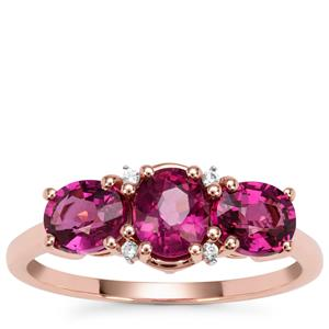 Comeria Garnet Ring with White Zircon in 9K Rose Gold 2.08cts