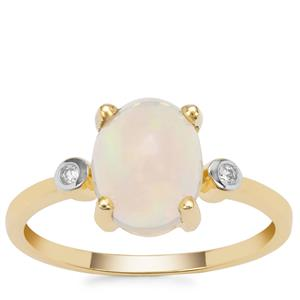 Kelayi Opal Ring with White Zircon in 9K Gold 1.55cts