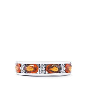 Cognac Zircon Ring with White Topaz in Sterling Silver 3.07cts