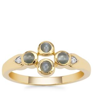 Cats Eye Alexandrite Ring with White Zircon in 9K Gold 0.54ct