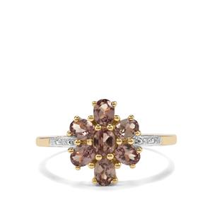 Bekily Colour Change Garnet & Diamond 10K Gold Ring ATGW 1.49cts