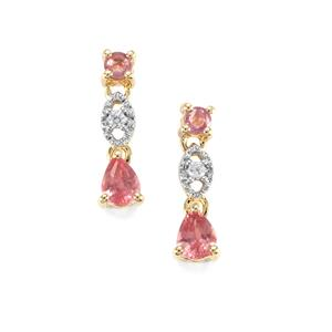 Padparadscha Sapphire Earrings with White Zircon in 10K Gold 0.78ct