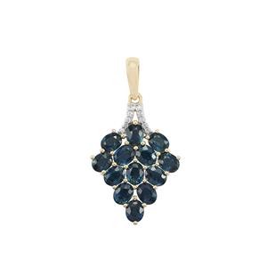 Australian Blue Sapphire Pendant with White Zircon in 10K Gold 4.21cts