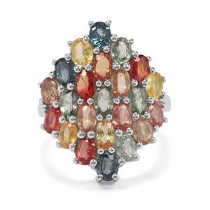 7.40ct Songea Multi Sapphire Sterling Silver Ring