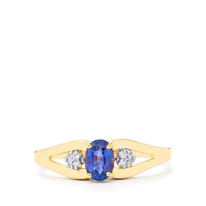 Blue Sapphire Ring with Ceylon White Sapphire in 9K Gold 0.65cts