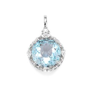 Lotus Cut Sky Blue Topaz Pendant with White Topaz in Sterling Silver 4.93cts