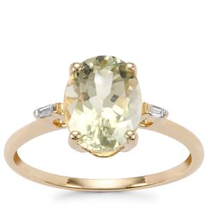 Sillimanite Ring with Diamond in 10k Gold 2.28cts
