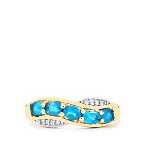 Neon Apatite Ring with White Zircon in 9K Gold 0.75ct