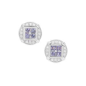 Tanzanite & White Zircon Sterling Silver Earrings ATGW 1.22cts