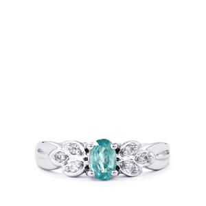 Manyoni Blue Zircon Ring with White Zircon in Sterling Silver 1.06cts
