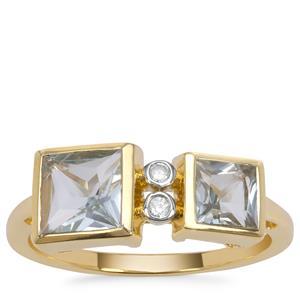 Pedra Azul Aquamarine Ring with White Zircon in 9K Gold 1.40cts