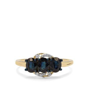 Australian Blue Sapphire Ring with White Zircon in 9K Gold 1.44cts