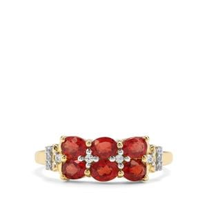Songea Ruby & White Zircon 9K Gold Ring ATGW 1.45cts