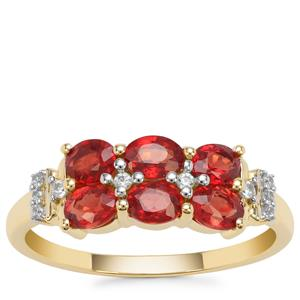 Songea Ruby Ring with White Zircon in 9K Gold 1.45cts