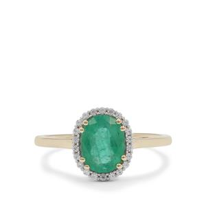 Kafubu Emerald Ring with White Zircon in 9K Gold 1.45cts