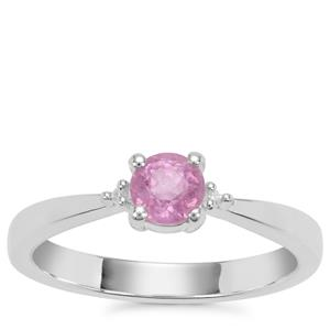 Ilakaka Hot Pink Sapphire Ring with White Zircon in Sterling Silver 0.73ct