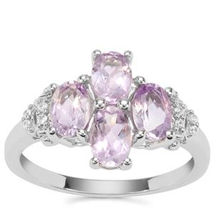 Rose du Maroc Amethyst Ring with White Zircon in Sterling Silver 1.69cts