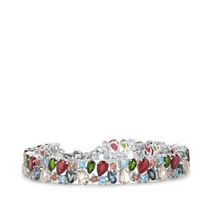 20.22ct Kaleidoscope Gemstones Sterling Silver Bracelet (F)