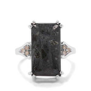 Lamproite & Argyle Diamond Sterling Silver Ring ATGW 7.96cts
