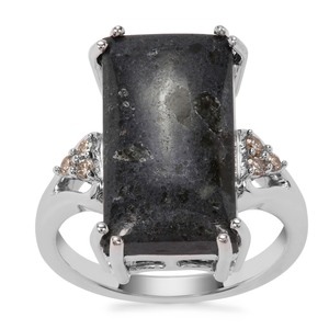 Lamproite Ring with Argyle Diamond in Sterling Silver 7.96cts