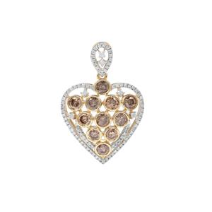 1.75ct Champagne & White Diamond 9K Gold Tomas Rae Heart Pendant