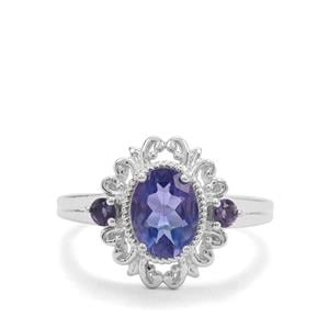 Colour Change Fluorite & Iolite Sterling Silver Ring ATGW 1.60cts