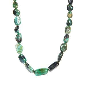 Zambian Emerald Graduated Necklace  in Sterling Silver 181.45cts