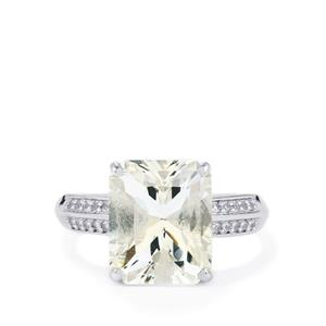 White Quartz & White Topaz Sterling Silver Barion Cut Ring ATGW 5.65cts