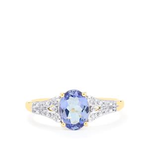AA Tanzanite Ring with Ceylon White Sapphire in 10k Gold 1.26cts