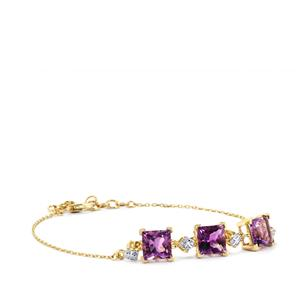 Moroccan Amethyst Bracelet with Diamond in 9K Gold 4.89cts