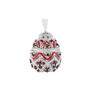 Rajasthan Garnet Moscow Egg Pendant in Sterling Silver 3.31cts