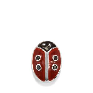 Black Spinel Kama Bead Lady Bird Charm in Sterling Silver 0.03cts