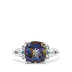 Mystic Blue, Marambaia London Blue Topaz & White Zircon Sterling Silver Ring ATGW 3.79cts