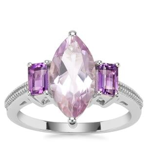 Rose De France Amethyst Ring with Bahia Amethyst in Sterling Silver 3.43cts